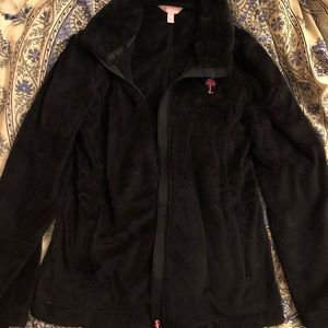 lilly pulitzer black and pink fleece zip up